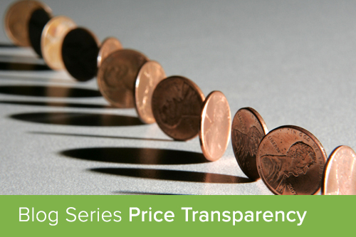 Pennies arranged in a line showing heads and tails; price transparency banner