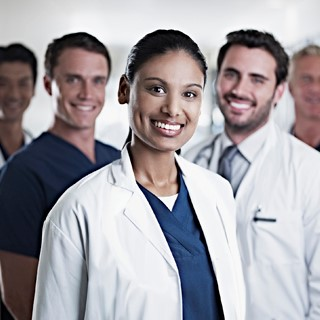 Diverse group of male and female physicians
