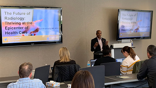 Arun Krishnaraj presents to ACR staff on the topic of patient- and family-centered care.
